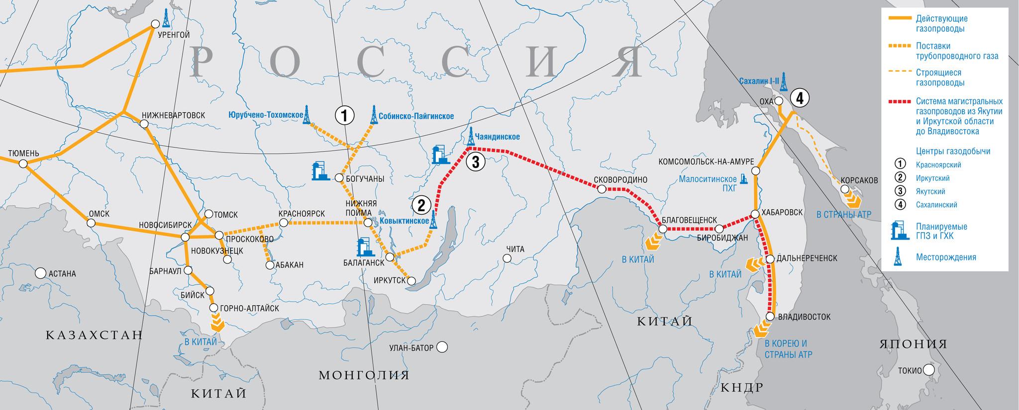 Газпром планирует соединить газопровод Сахалина и Силу Сибири